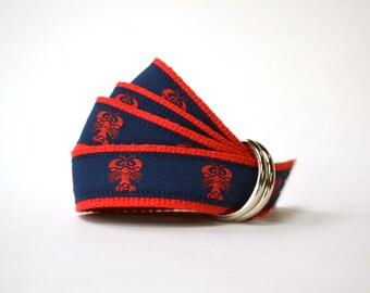 Lobster Belt - Nautical Belt - Boys Belt - Canvas Belt - Ring Bearer Belt - Ringer Bearer Outfit - Nautical Wedding Outfit -Red Toddler Belt