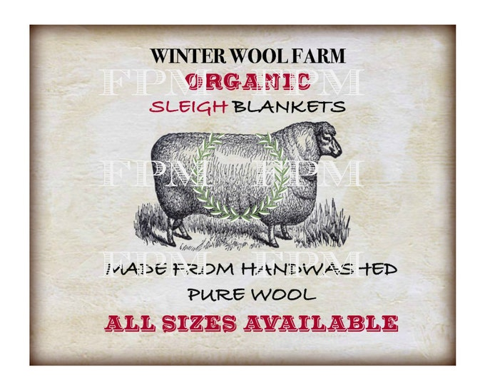 Primitive Winter Digital, Vintage Sheep Printable, Digital Sheep Pillow Transfer Image, Iron On Graphic