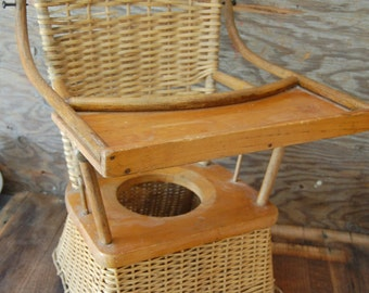 1800's antique wicker child's potty chair with wood tray