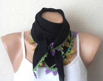 black scarf turkish scarf oya scarf trendy scarf fashion scarf gift for her