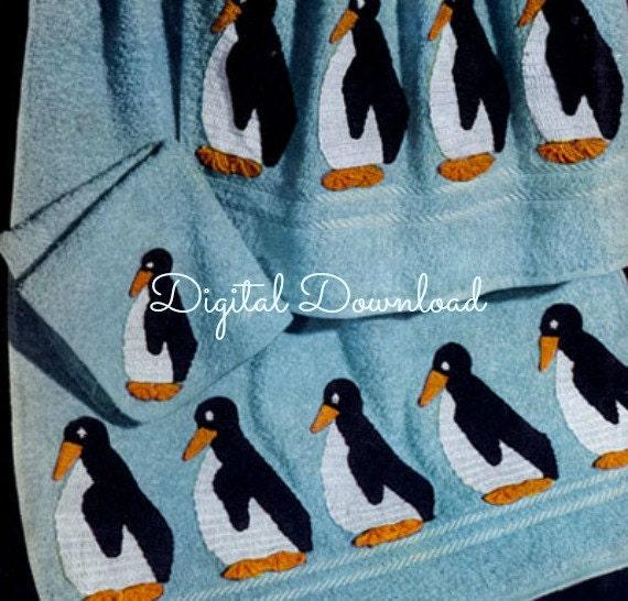 Vintage Penguin Crochet Towel Edging Pattern Bath Set PDF Digital Download