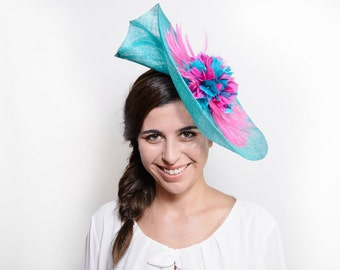 Shaw - Teal and fuchsia fascinator hat, feather fascinator, teal wedding hat, ascot, kentucky derby hat, floral fascinator, teal headpiece