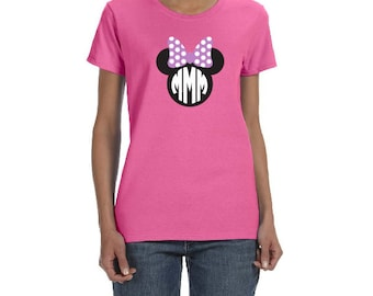 WOMENS Minnie Mouse Bow TSHIRT Disney Trip Bachelorette Party Family Reunion MINNIE Mom