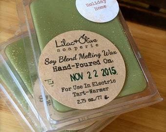Holiday Home - Hand Poured Para-Soy Wax Melts - Tarts - Highly Scented - Wickless Candles - Soy Wax - Home Fragrancing- Christmas - Holiday