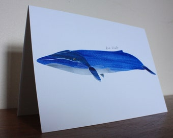 Blue Whale // Watercolour Illustration // Blank Card