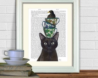 Black Cat portrait - cat with teacups and blackbird - whimsical cat print funny art print funny gift art for kids room  Decorative art