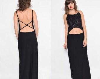 Vintage 90's Backless Black Maxi Dress / Sleeveless Maxi Dress / Strappy Sparkling Dress - Size Medium