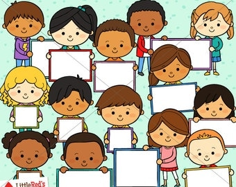 Kids with Signs Clip Art and Line art - personal and commercial use