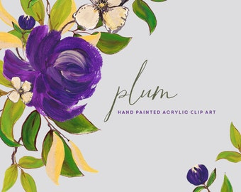 Flower Clipart, Hand Painted Acrylic Graphics - Plum