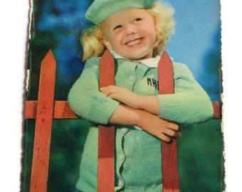 Vintage Children's 1960's Postcard . Retro Photo Postcard 60s . Cute Little Blond Girl