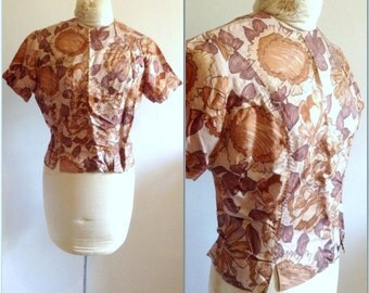 1950s Brown Floral Silk Vintage Blouse, size medium, large 8 10 vintage top, vintage shirt, tops for women