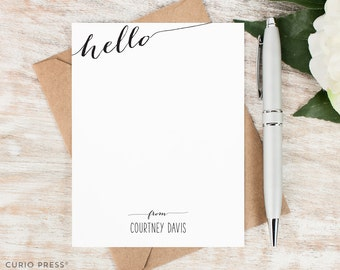 Personalized Note Card Set / Flat Personalized Stationary / Hello Stationery Personalized Notecards / Personalised // SLANTED HELLO