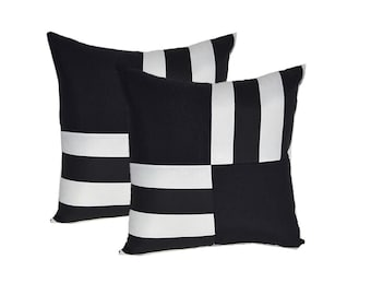 "Set of 2 ~ 17"" x 17"" Indoor / Outdoor Black and White Stripe Mix and Match Decorative Throw / Toss Pillows"
