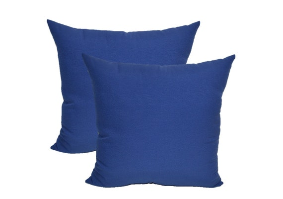 Royal Blue Outdoor Throw Pillows : Set of 2 Solid Royal Blue Decorative Square Throw / Toss