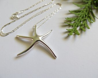 Starfish Necklace, Sterling Silver Necklace, Beach Necklace, Pendant Necklace, Starfish Pendant, Sealife Seaside Nautical Bridesmaid Pendant