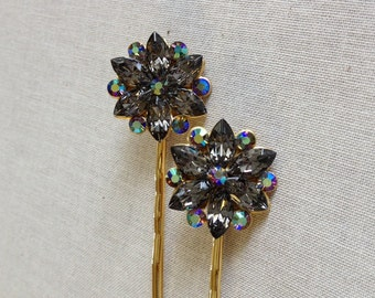 Swarovski black diamond rhinestone cluster hair pins, hair pin, gray, grey, crystal, rhinestone, bobby pin, rustic, wedding, bridesmaid gift