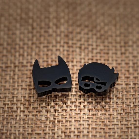 Superhero Earrings - Batman & Robin Acrylic Studs on Surgical Steel Posts.