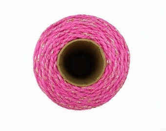 Pink Sparkle Baker's Twine 100m - Gold Glitter Packaging String - Hot Pink Cotton Twine Made in England