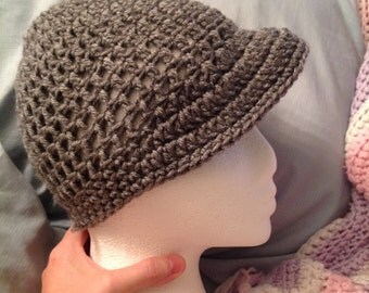 Grey beanie with Brim Hat Teen/Small Adult