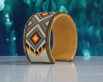 Native American Beaded Cuff Bracelet In Matt Silver, Turquoise, Copper, Tarnished Silver & Fire Colors Of The Southwest by LJ Greywolf