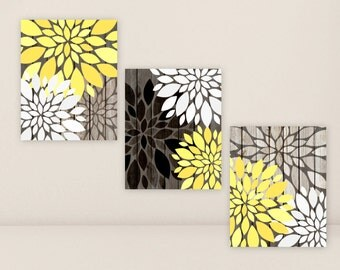 Home Decor Faux WOOD Yellow Rustic Wall Art Set Bedroom Decor Country Flowers Set of 3 Prints OR Canvas Flower Burst Brown White Bathroom