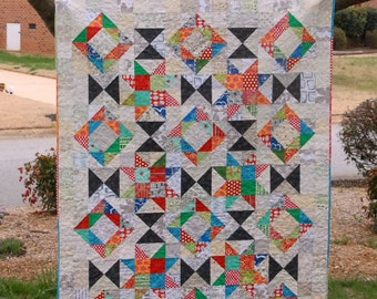 Foothills Mystery Quilt - a Digital pdf Quilt Pattern - a Modern Mystery Quilt in a Lap Size