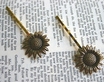 Gold Sunflower Bobby Pins Antiqued Gold Brass Hair Clip Woodland Wedding Hair Pin Boho Rustic Bridal Hair - You Are My Sunshine