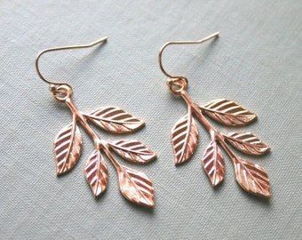 SALE Rose Gold Leafy Branch Earrings- Pink Gold Woodland Wedding, Nature, Boho, Copper