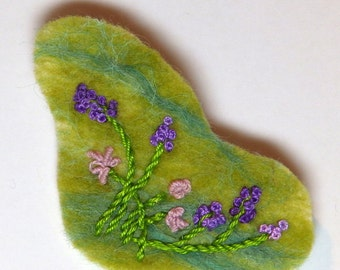 Embroidered felted brooch, floral design by Feltissimo