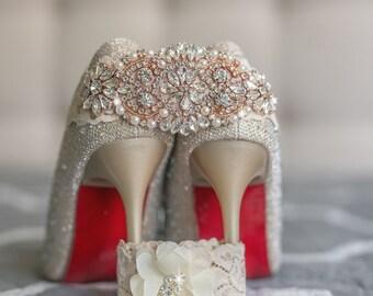 Ivory Lace Garter Set Rose Gold Wedding Bride Heirloom Vintage Glam Modern Destination