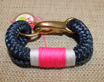 Customized Maine Rope Bracelet - Navy Rope - Pink / White - Made to Order