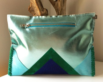 AZURE | Leather & Suede Clutch