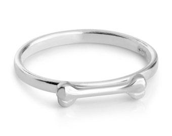 Dog Bone Puppy Pet Treat Stackable Ring # 925 Sterling Silver #Azaggi R0538S