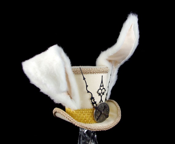 The White Rabbit –Beige and Gold Clockwork Bunny Eared Large Mini Top Hat Fascinator, Alice in Wonderland Mad Hatter Tea Party, Cosplay