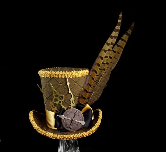 Brown, Gold, and Black Diamond Pheasant Feather Steampunk Large Mini Top Hat Fascinator, Alice in Wonderland Mad Hatter Tea Party, Derby Hat