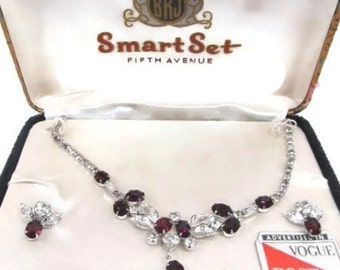 Vogue BRJ Smart Set Fifth Avenue Jewelry Set, Red & Clear Rhinestones Necklace and Earrings Demi