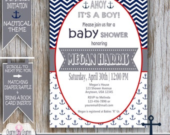 Nautical Baby Shower Invitation, Ahoy It's A Boy, Nautical Baby Boy Shower Ideas, Navy Blue and White Anchors, DIY PRINTABLE