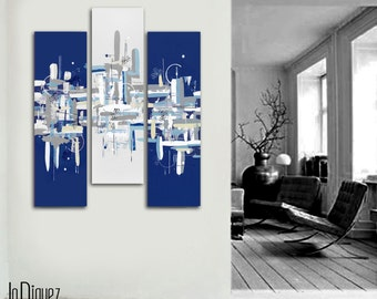 """Original abstract painting. 40x41"""" 3 piece canvas art. Large painting. Dark blue painting. Modern wall art with blue and gray."""