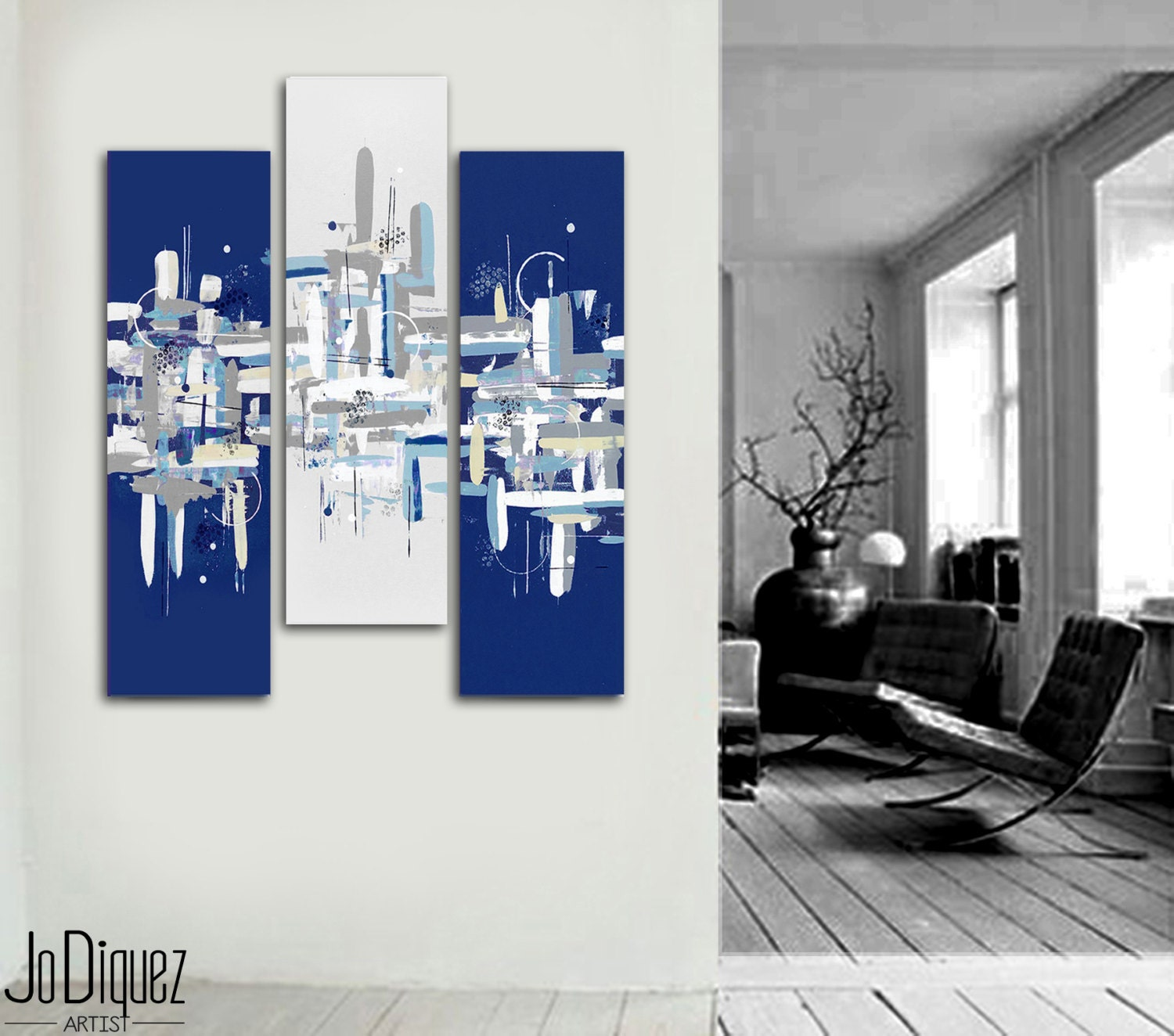 Original abstract painting 40x41 3 piece canvas art for Toile abstraite