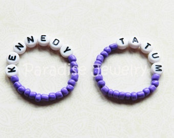 Identical Baby ID Bracelet Set, Twin Girls Purple,  Newborn Bracelets For Twins, Baby Name Bracelet, Personalized, Baby Keepsake Bracelets
