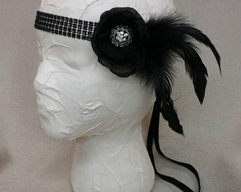 Black Feather Flapper Headband