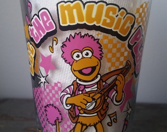 Fraggle Rock drinking glass. Fraggle Rock the music juice glass.