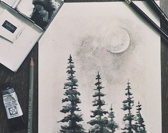 Trees | Moon | Watercolor | Original | Handpainted