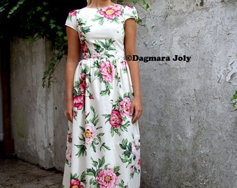 Cap sleeve maxi floral dress, floor length off white floral dress, womens dress, long dress, maxi dress, floral dress