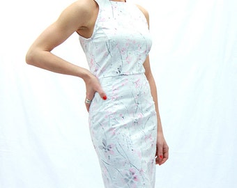 Sleeveless white dress, knee length white dress, womens dress, office dress, fitted dress, pencil dress