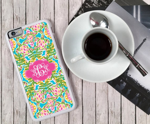 iPhone 8 Plus Case Sea Turtles Monogrammed Personalized iPhone 7 6 5 5c 5s S6 Edge Samsung S6 S5 Tough Plastic Custom Lilly Inspired