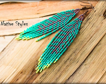 "4""Seed Beaded Feather Earring,Native Indian Style Turquoise ~Bohemian Leaf Seed Bead Work~Long Bohemian Fringe~Native American Inspired BOHO"