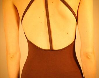 Medium Womens Trio Tank- organic| eco-friendly| burning man| festival| open back| chocolate