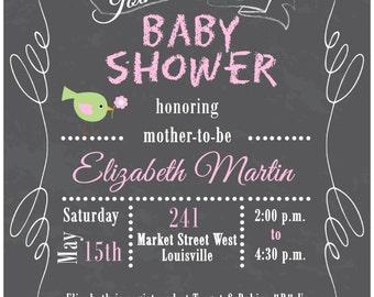 Chalkboard Baby Shower Invitation, Girl Baby Shower Invitation, Pink, Green, Gray, Chalkboard, Printable, DIY