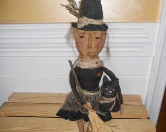 primitive witch,folk art witch,Halloween witch